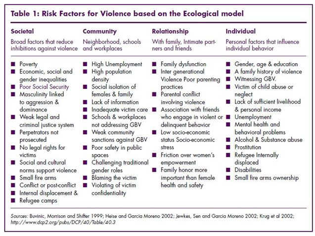 Selected risk factors related to violence exles of what the health